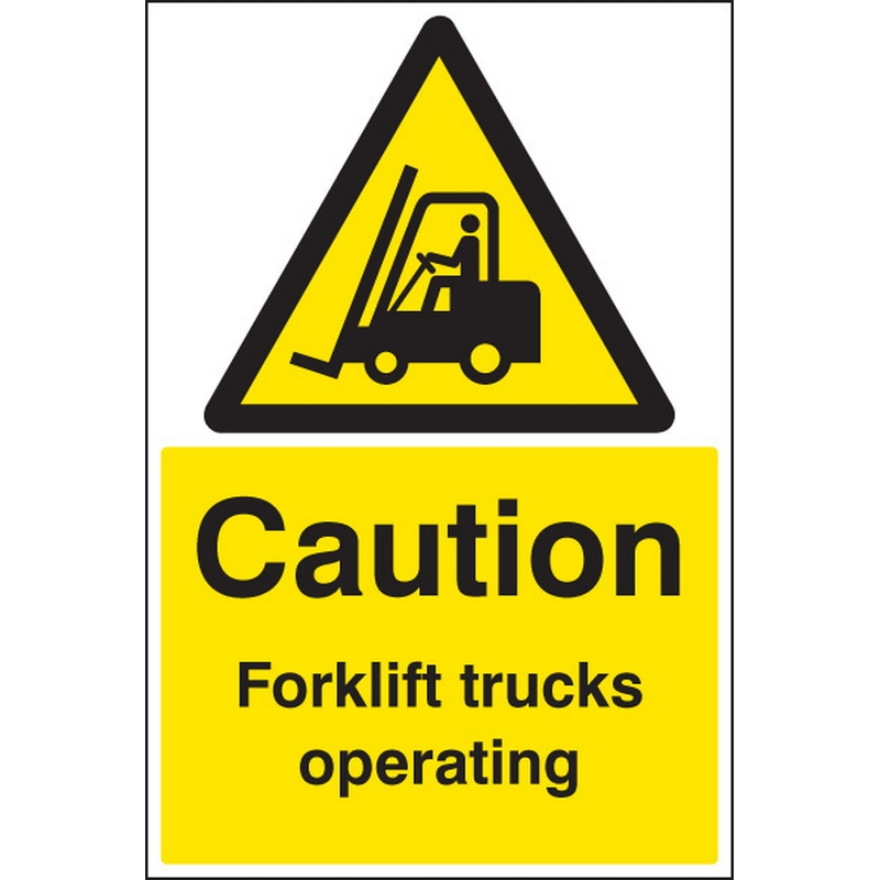 Caution forklift trucks operating floor graphic 400x600mm