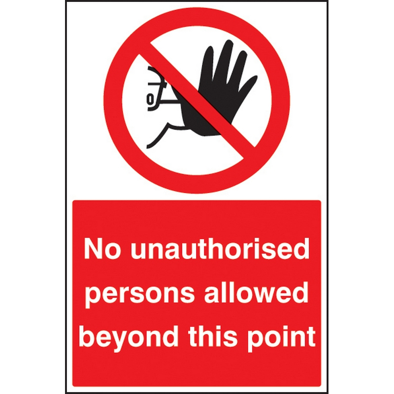 No unauthorised persons beyond this point floor graphic 400x600mm