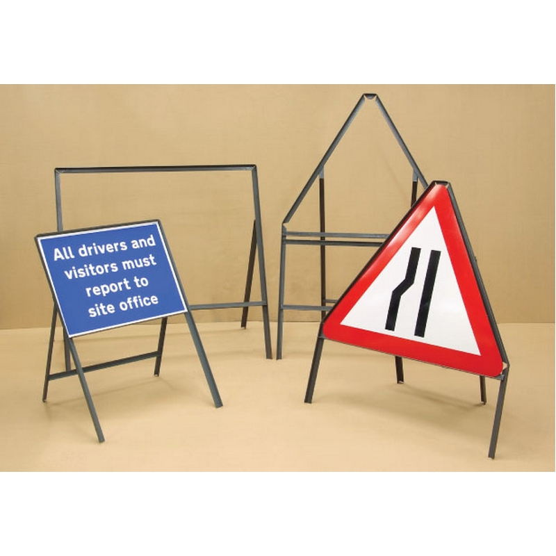 Sign frame 750mm triangle with supp plate - 450mm legs