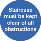 Staircase must be kept clear floor graphic 400mm dia