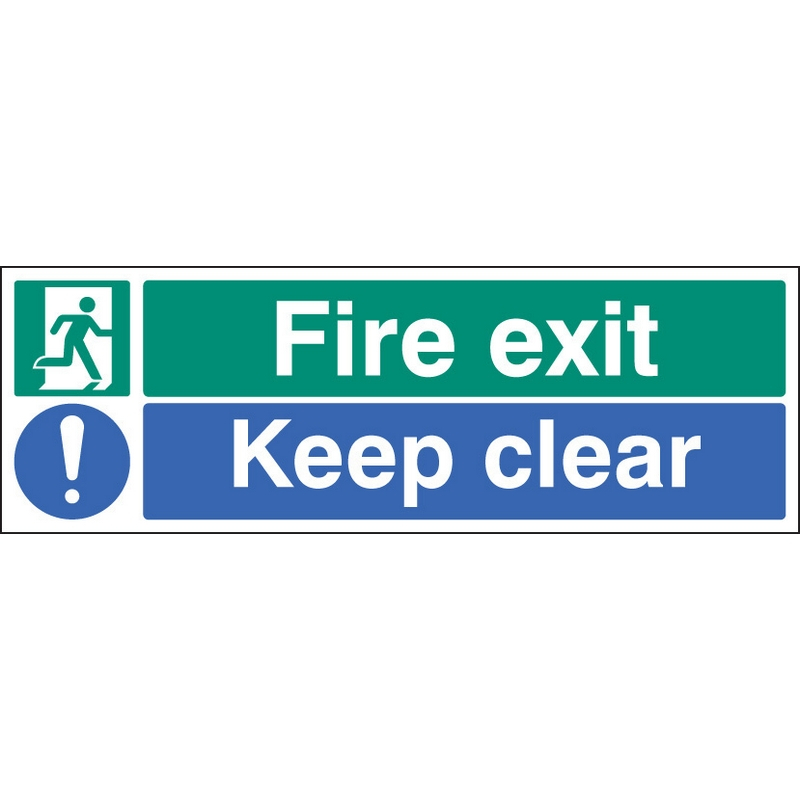 Fire exit keep clear floor graphic 600x200mm