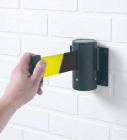 Wall mounted retractable barrier 3m black/yellow webbing 50mm wide c/w screw in wall clip