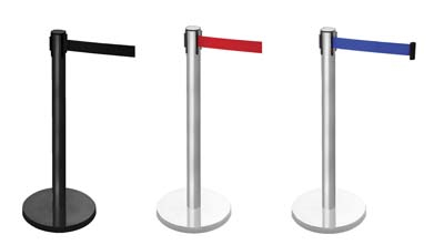 Retractable barrier on black post (3.4m red webbing) 1015mm high post