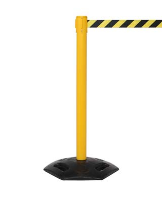 Retractable industrial barrier on yellow post (3.4m black/yellow webbing) 1015mm high post
