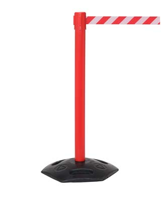 Retractable industrial barrier on red post (3.4m red/white webbing) 1015mm high post
