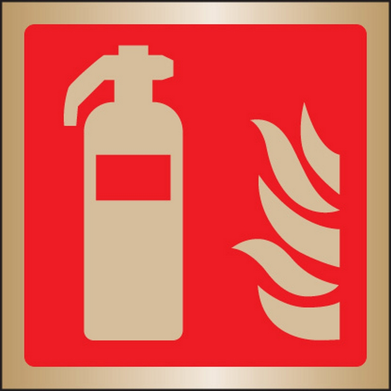 Extinguisher symbol 175x175mm brass