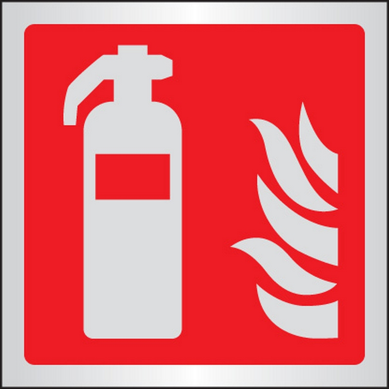 Extinguisher symbol 175x175mm aluminium