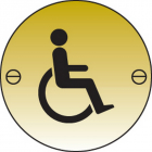 Disabled symbol 76mm dia brass sign