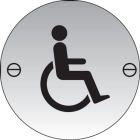 Disabled symbol 76mm dia stainless steel sign