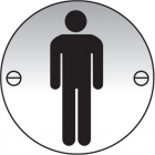 Gents symbol 76mm dia aluminium sign