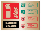 9486 CO2 extinguisher ID brass 150x200mm adhe...