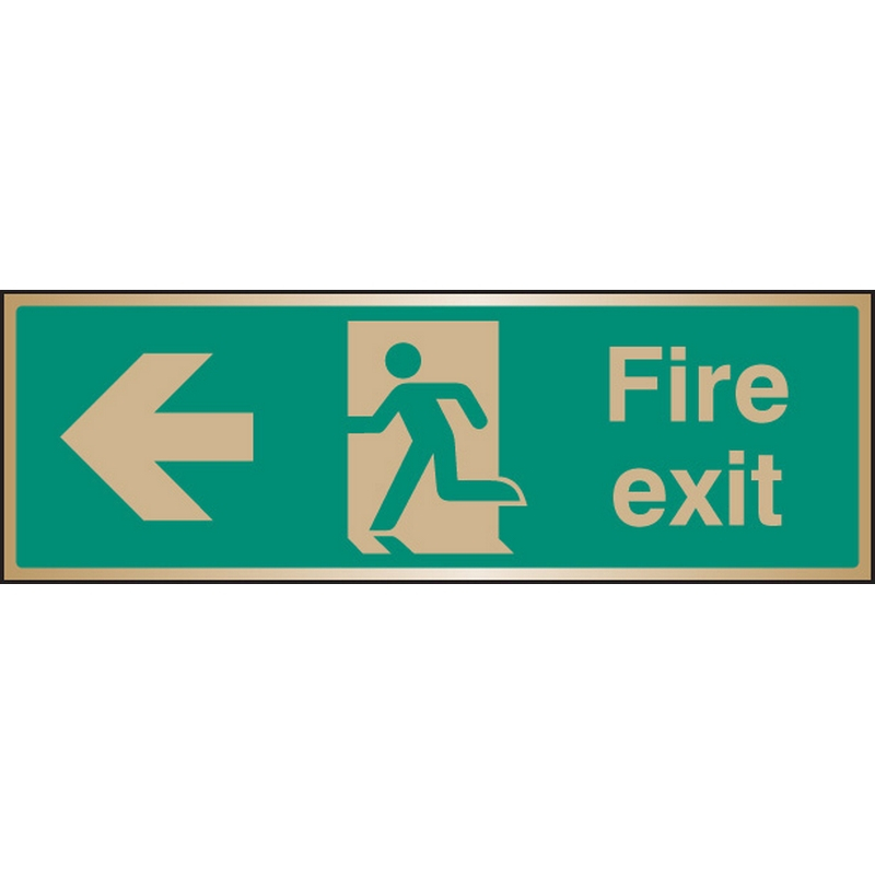 Fire exit arrow left brass 300x100mm