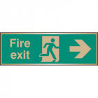 Fire exit arrow right brass 300x100mm