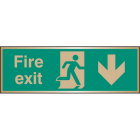 Fire exit arrow down brass 300x100mm