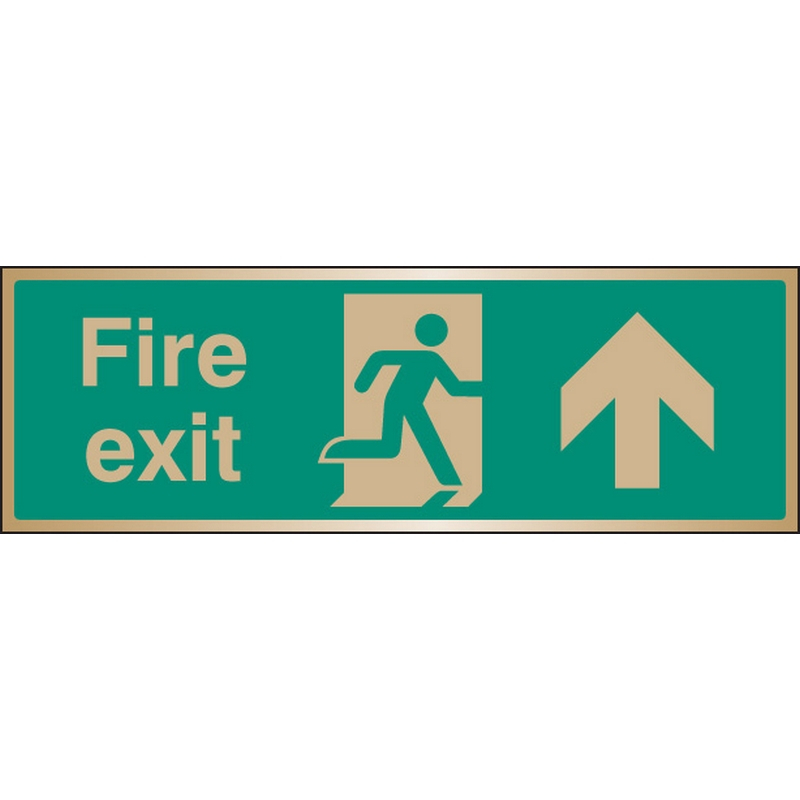 Fire exit arrow ahead brass 300x100mm
