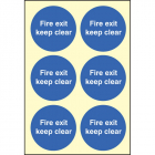Fire exit keep clear 65mm dia - sheet of 6 photoluminescent