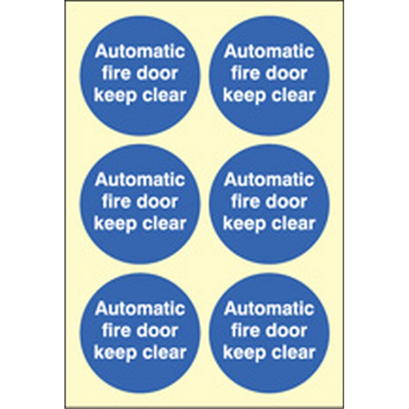 Automatic fire door keep clear  65mm dia - sheet of 6 photoluminescent