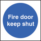 100 S/A labels 100x100mm fire door keep shut