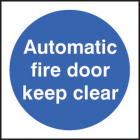 100 S/A labels 100x100mm auto fire door keep clear
