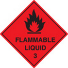 100 S/A labels 100x100mm flammable liquid 3