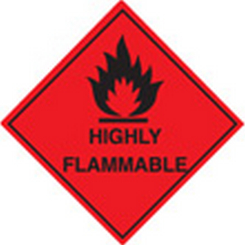 100 S/A labels 100x100mm highly flammable