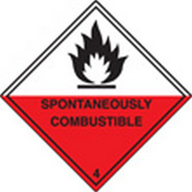 100 S/A labels 100x100mm spontaneously combustible 4