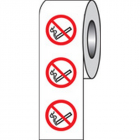 No smoking roll of 100 labels 75mm dia