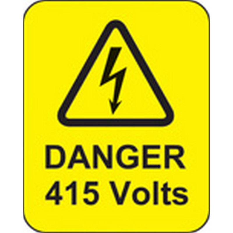 Danger 415 volts roll of 100 labels 40x50mm