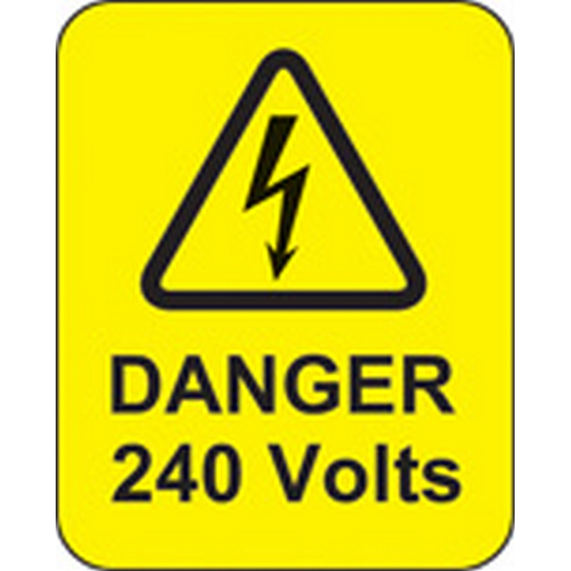 Danger 240 volts roll of 100 labels 40x50mm