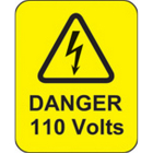 Danger 110 volts roll of 100 labels 40x50mm