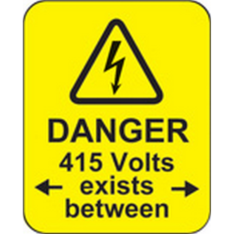 Danger 415 volts <-exists between-> roll of 100 labels 40x50mm