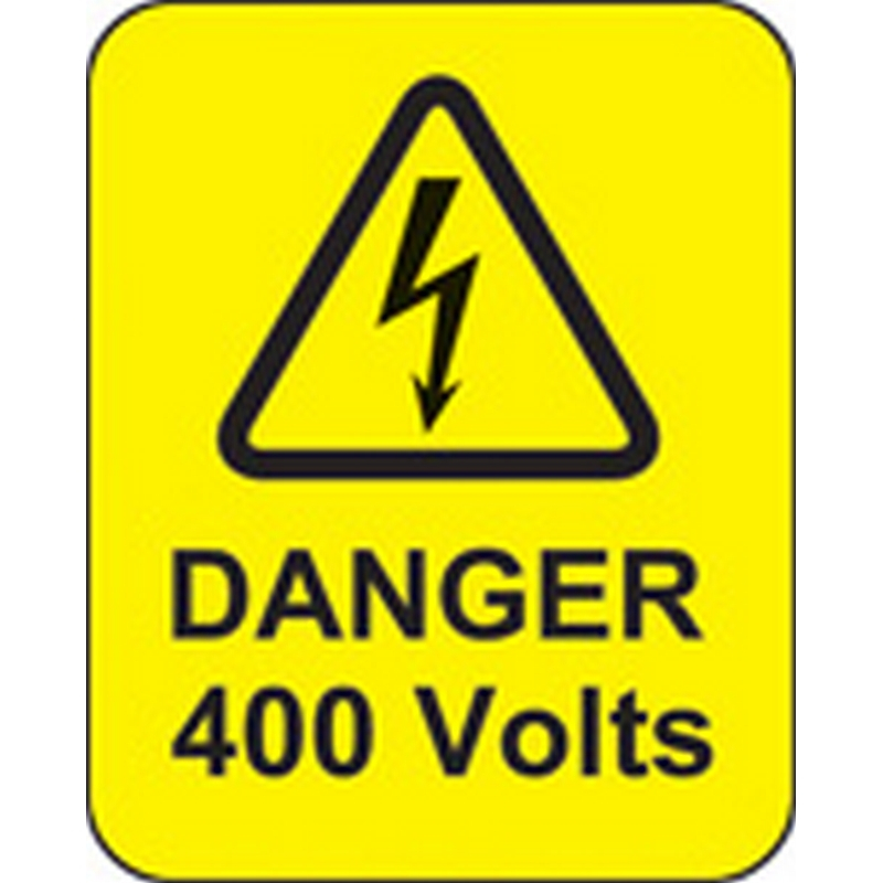 Danger 400 volts roll of 100 labels 40x50mm