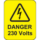 Danger 230 volts roll of 100 labels 40x50mm