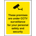 Premises are under CCTV surveillance 75x100mm sav on face