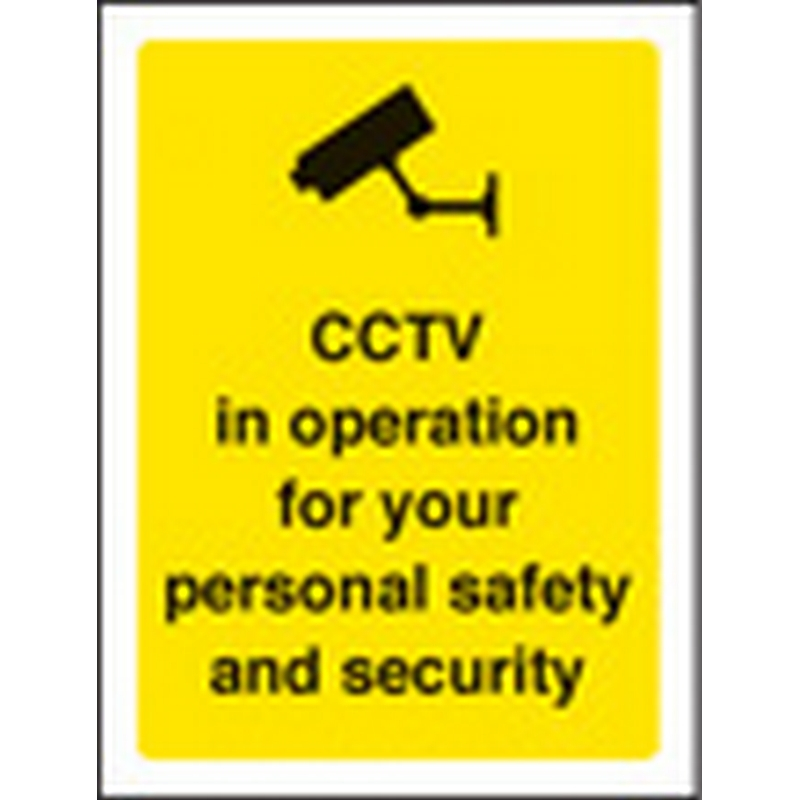 CCTV in operation for your safety 75x100mm sav on face
