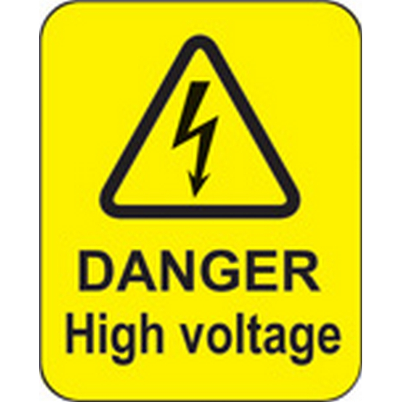 Danger high voltage roll of 100 labels 40x50mm