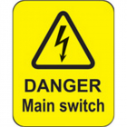 Danger main switch roll of 100 labels 40x50mm