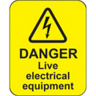 Danger live electrical equipment roll of 100 labels 40x50mm