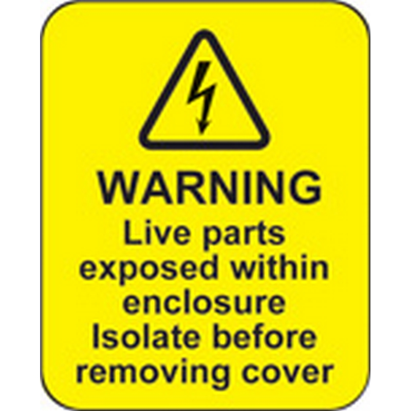 Warning live parts within enclosure roll of 100 labels 40x50mm