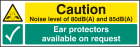 Noise level 80dB(A) & 85DB(A) ear protectors available on request