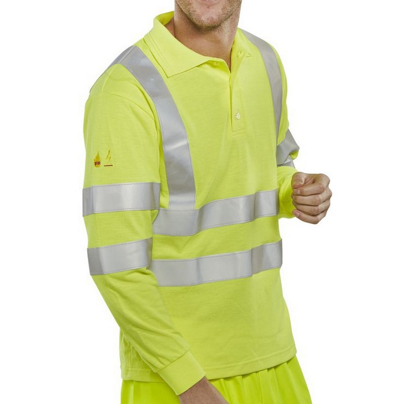Hi-Viz Flame Retardant Anti-Static Long Sleeve Polo