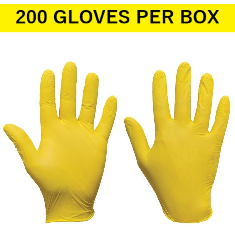 Yellow Ultra Nitrile Disposable Gloves