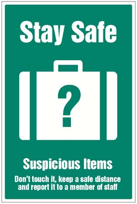 1744 Stay safe - suspicious items graphic
