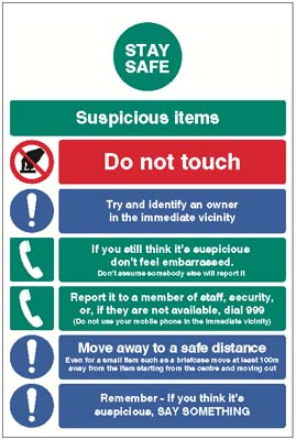 1745 Stay safe - suspicious items info