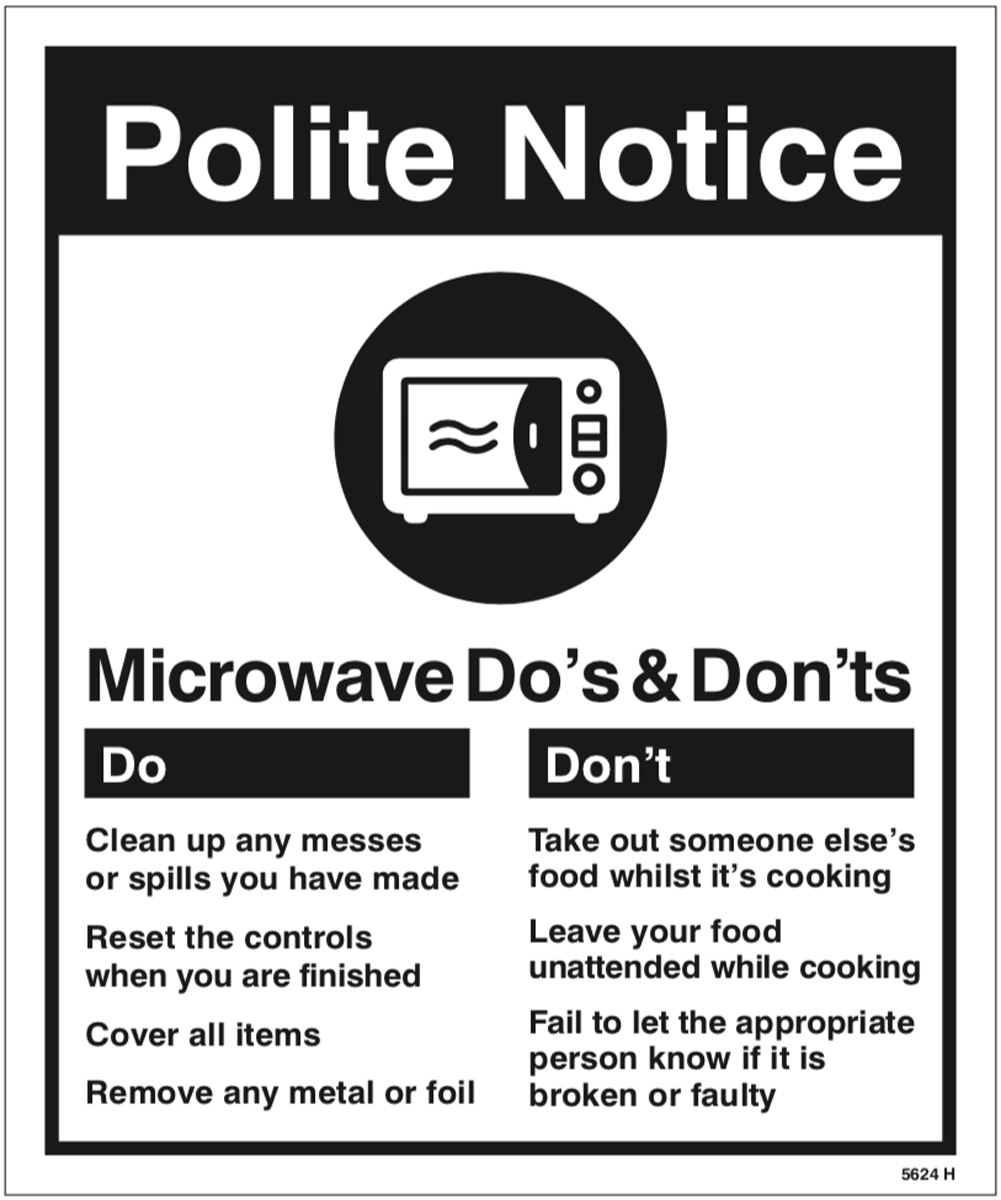 5624 Microwave - Do's & Don'ts - Office Signs - Product