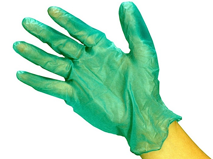Green Vinyl Disposable Gloves