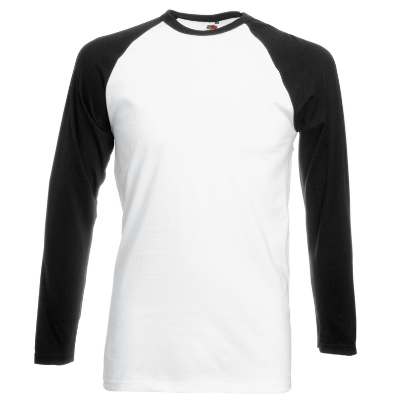SS32 Long Sleeve Baseball T-Shirt White/Black Medium