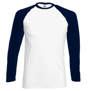 SS32 Long Sleeve Baseball T-Shirt White/Deep Navy XXL