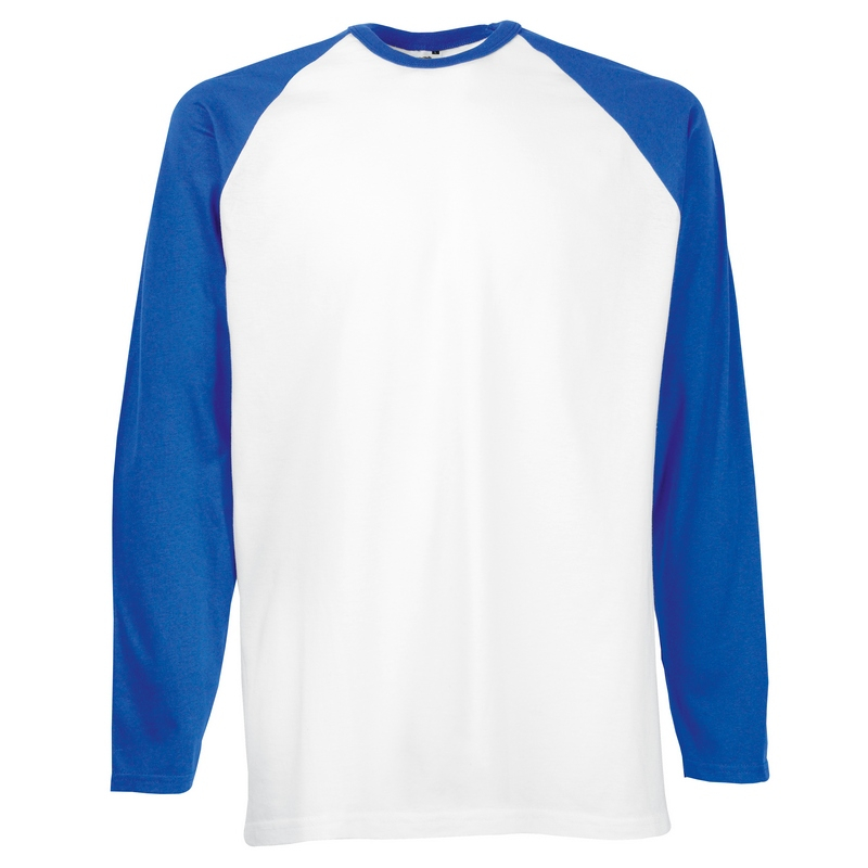 SS32 Long Sleeve Baseball T-Shirt White/Royal Medium