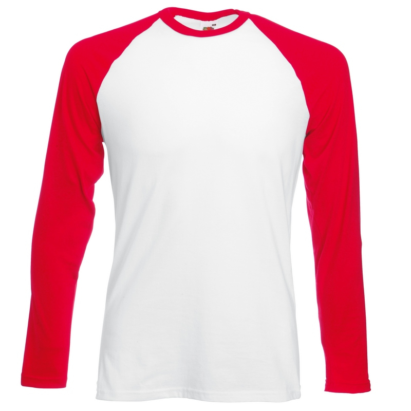 SS32 Long Sleeve Baseball T-Shirt White/Red Medium